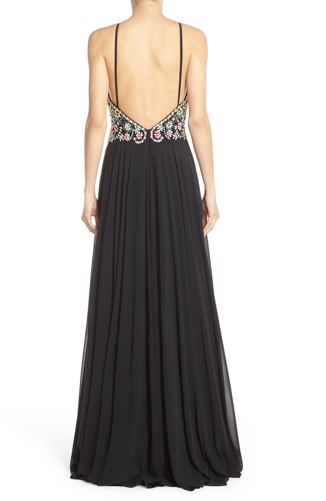 Alternate Image 2  - Faviana Embellished Chiffon Fit & Flare Gown
