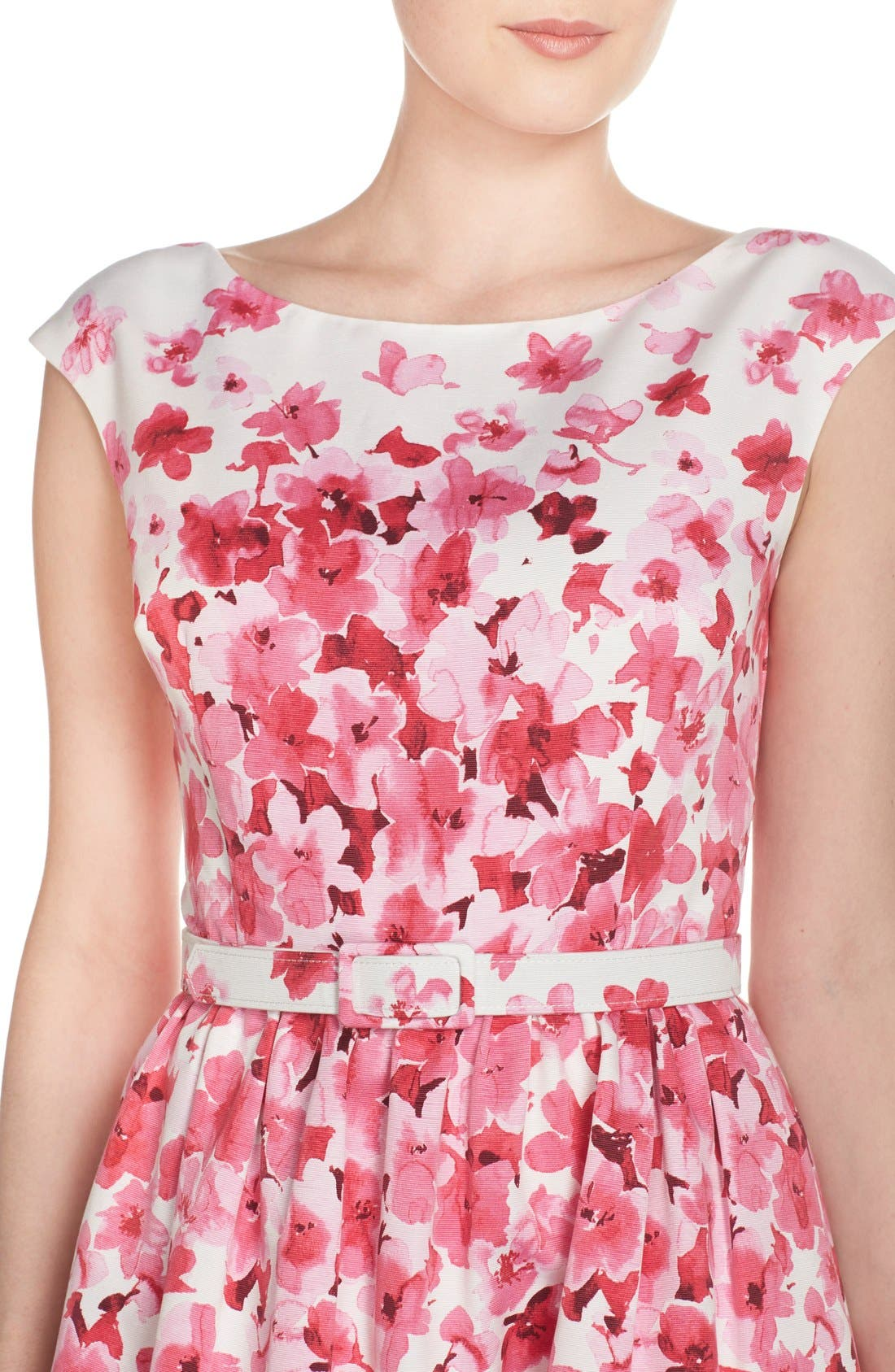 Alternate Image 5  - Eliza J Belted Floral Faille Fit & Flare Dress