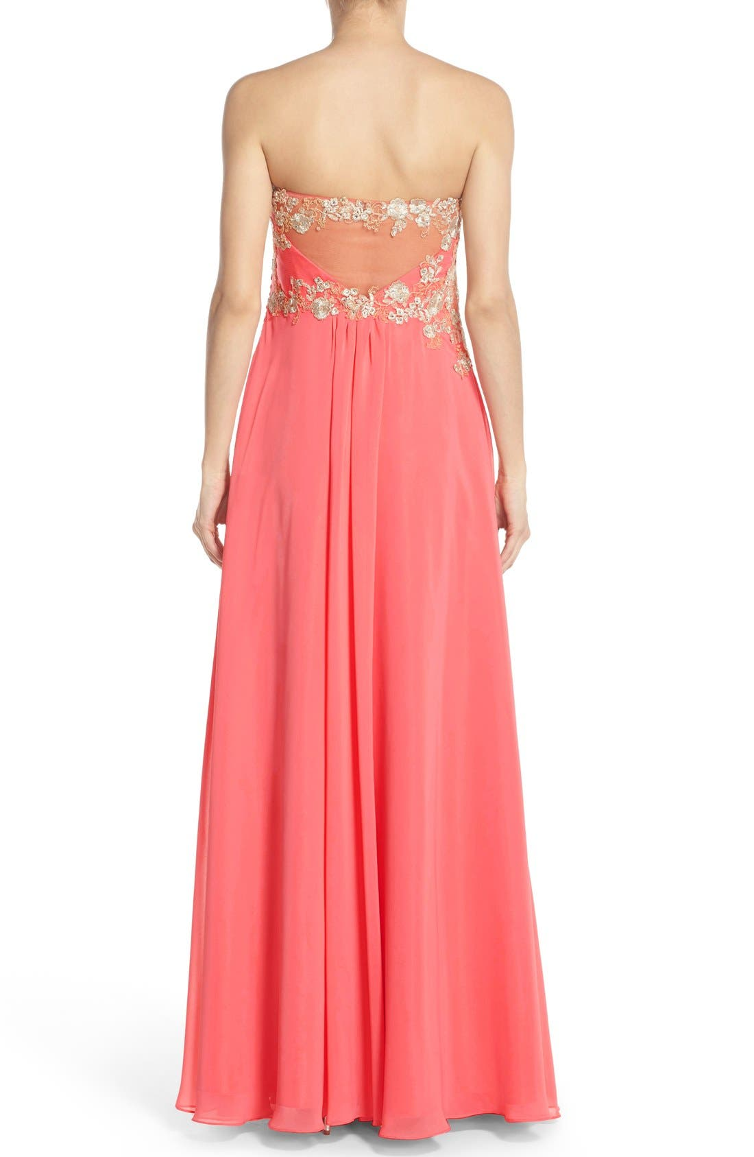 Alternate Image 2  - Faviana Embroidered Chiffon Gown