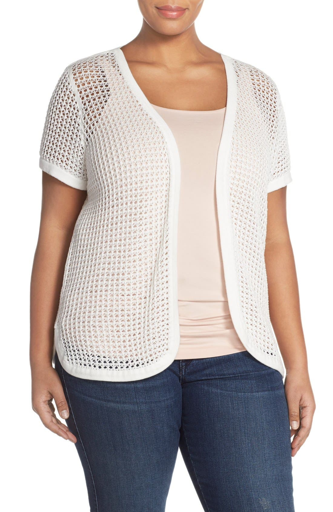 Alternate Image 1 Selected - Vince Camuto Open Stitch Cardigan (Plus Size)