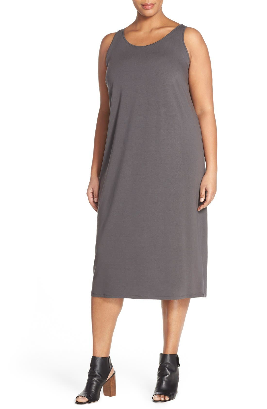 Eileen Fisher Scoop Neck Jersey Dress (Plus Size)