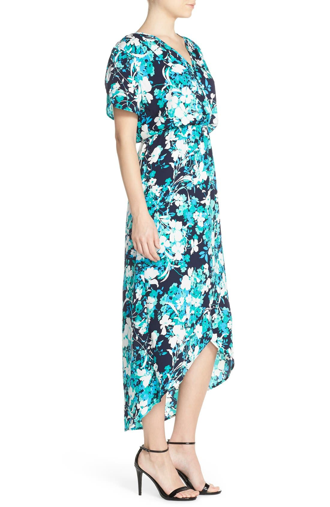 Alternate Image 3  - Fraiche by J Floral Print Woven High/Low Maxi Dress