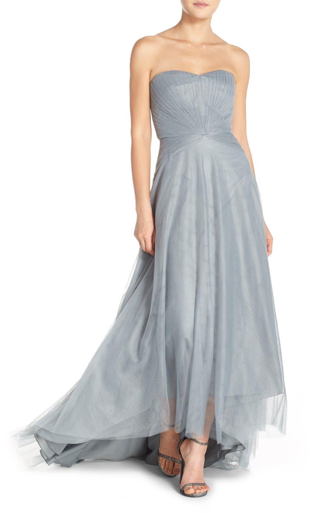 Alternate Image 1 Selected - Monique Lhuillier Bridesmaids Pleat Tulle Strapless Gown