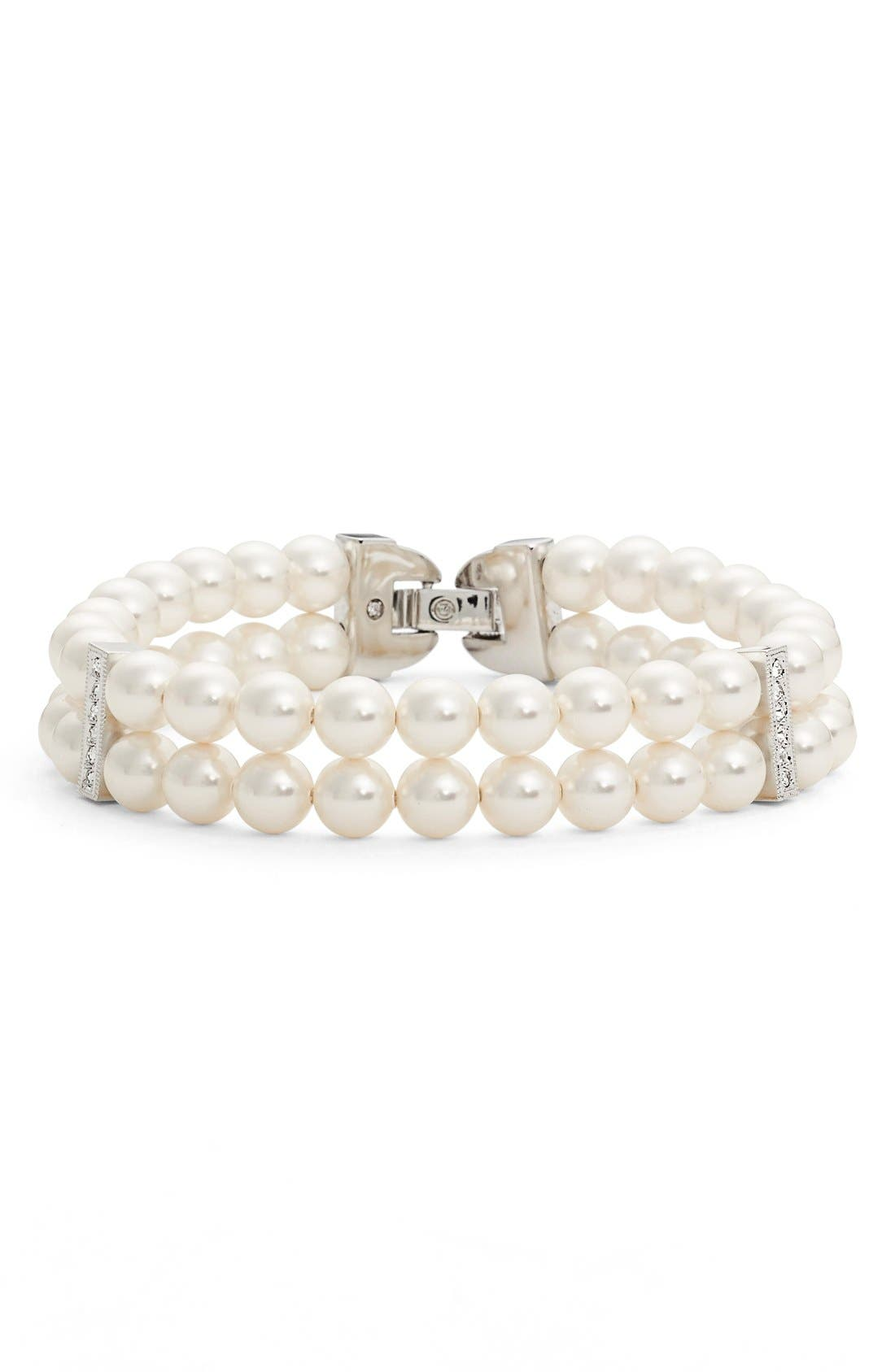 Nadri Double Row Imitation Pearl Bracelet