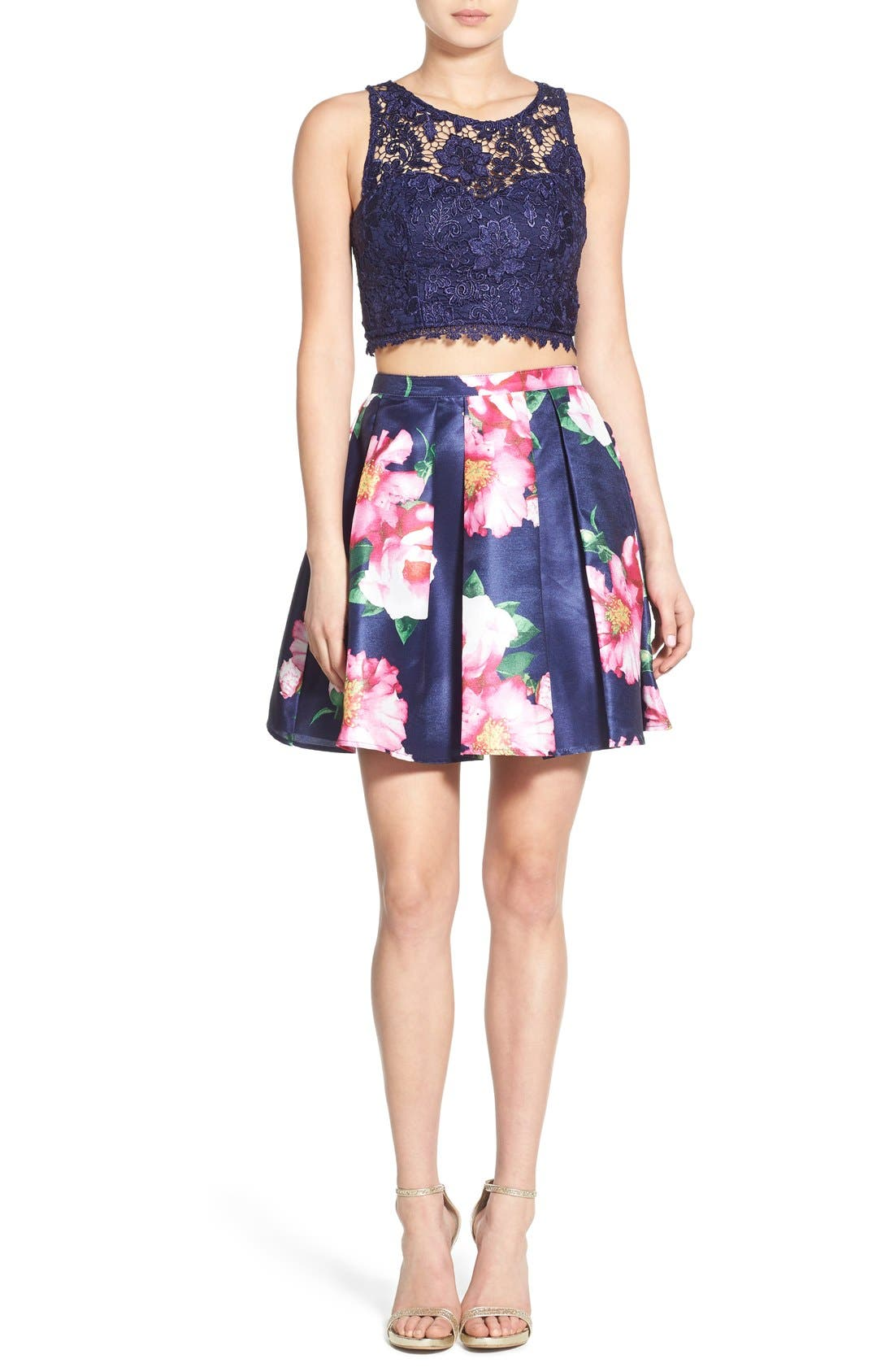 Alternate Image 1 Selected - Sequin Hearts Floral Print Lace Two-Piece Dress