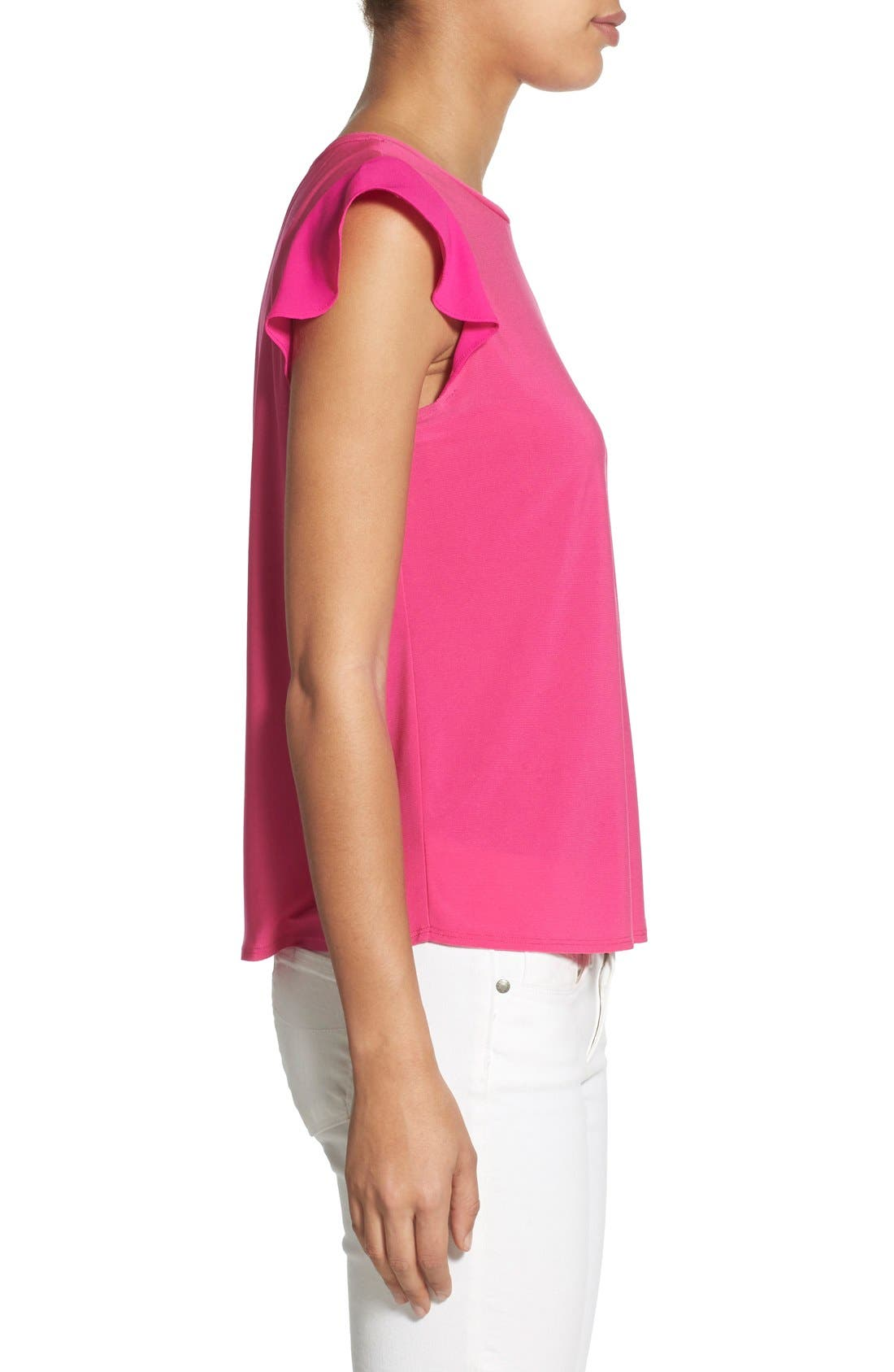 Alternate Image 3  - CeCe by Cynthia Steffe Chiffon Flutter Sleeve Tee