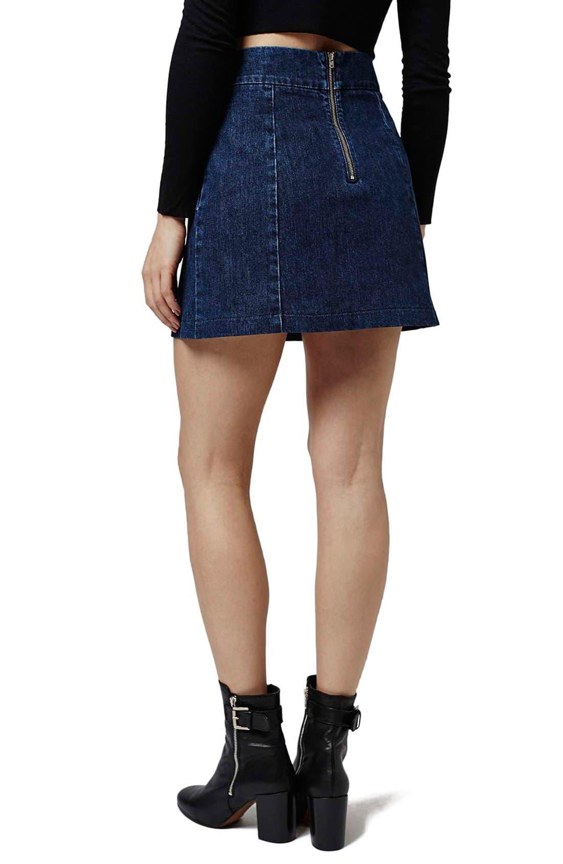 Alternate Image 3  - Topshop A-Line Denim Miniskirt