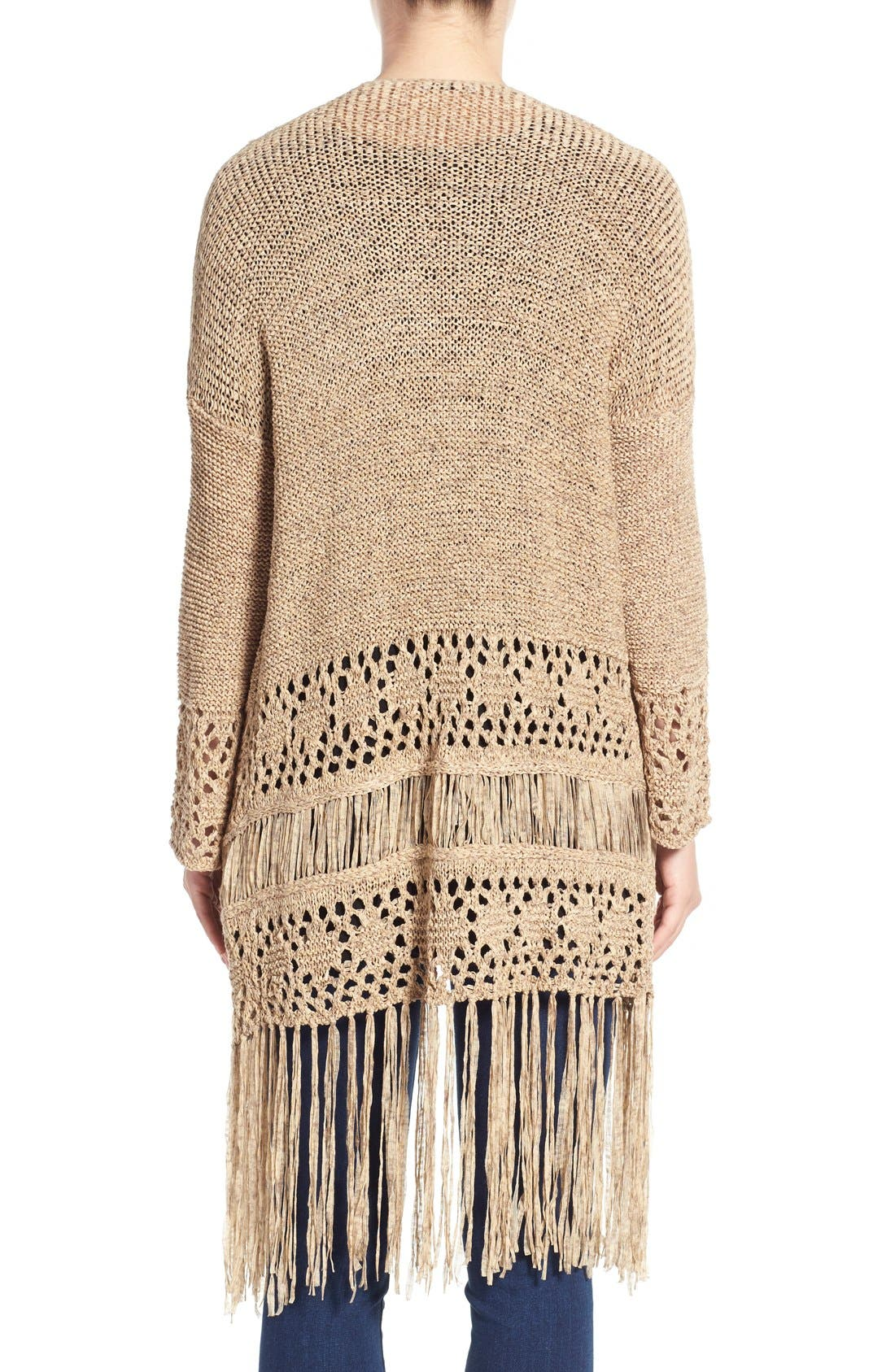 Alternate Image 2  - Dex Fringe Hem Tape Yarn Cardigan