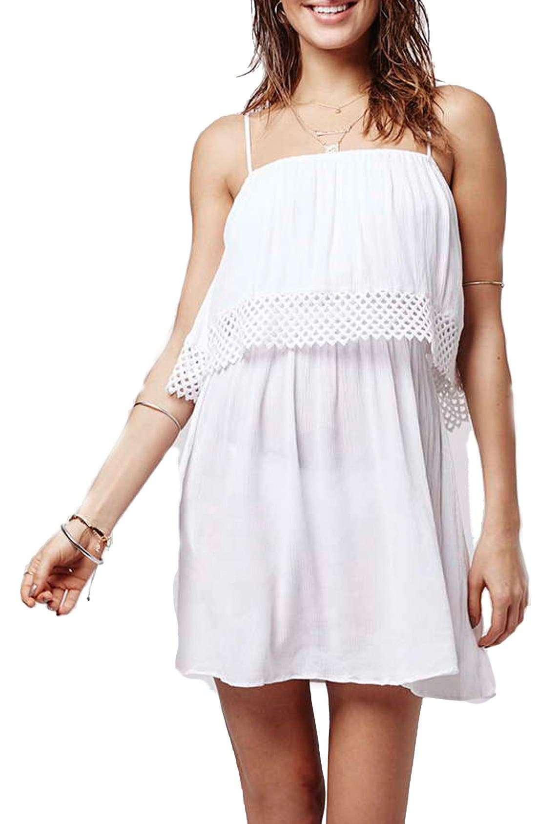 Main Image - Topshop Crochet Overlay Cover-Up Sundress