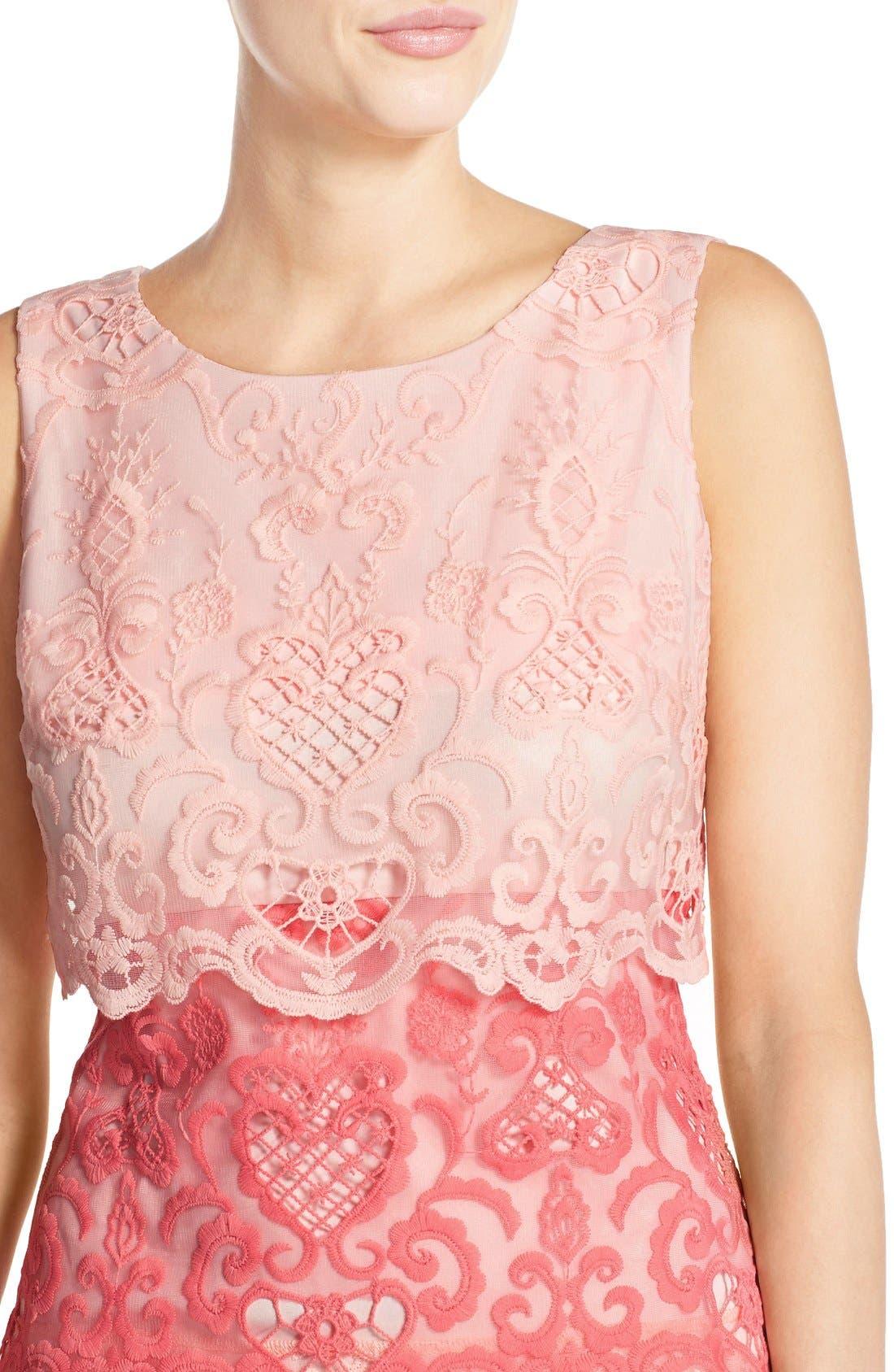Alternate Image 5  - Chetta B Tiered Lace Sheath Dress