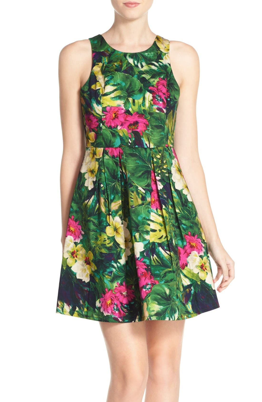 Alternate Image 1 Selected - Felicity & Coco Floral Print Fit & Flare Dress (Regular & Petite) (Nordstrom Exclusive)