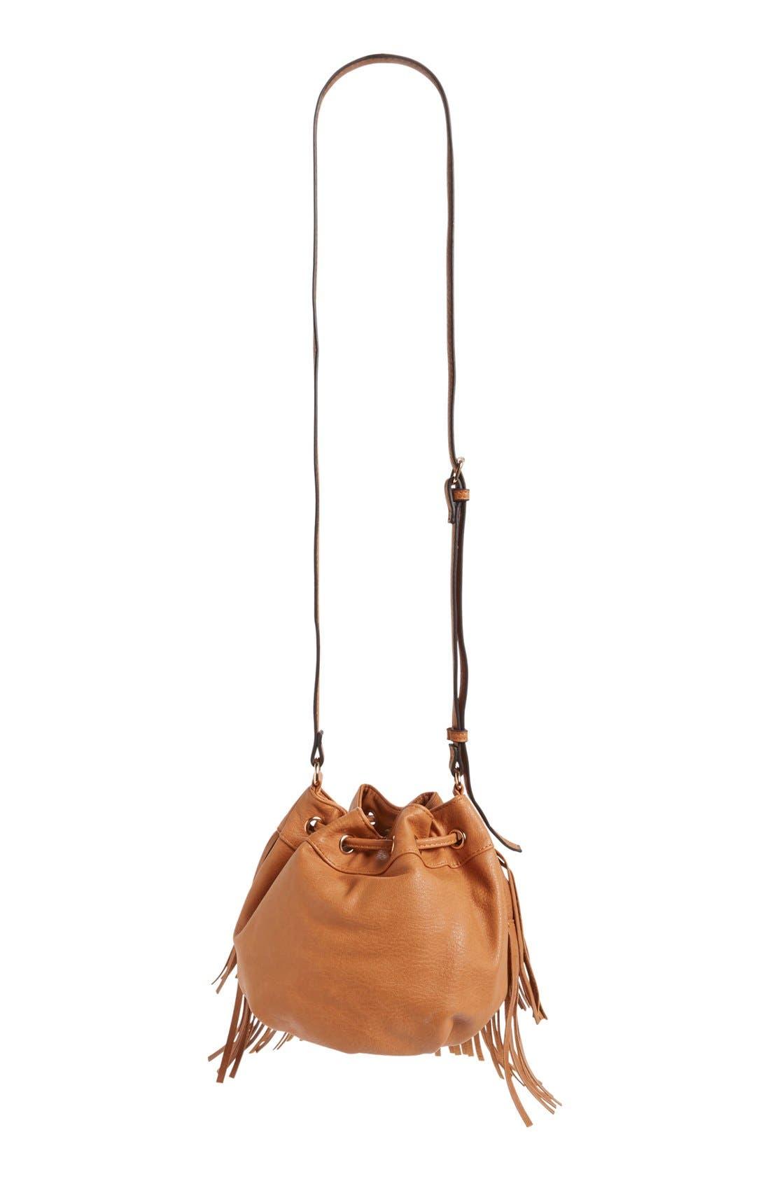 Alternate Image 3  - Sole Society Mini Fringe Faux Leather Bucket Bag