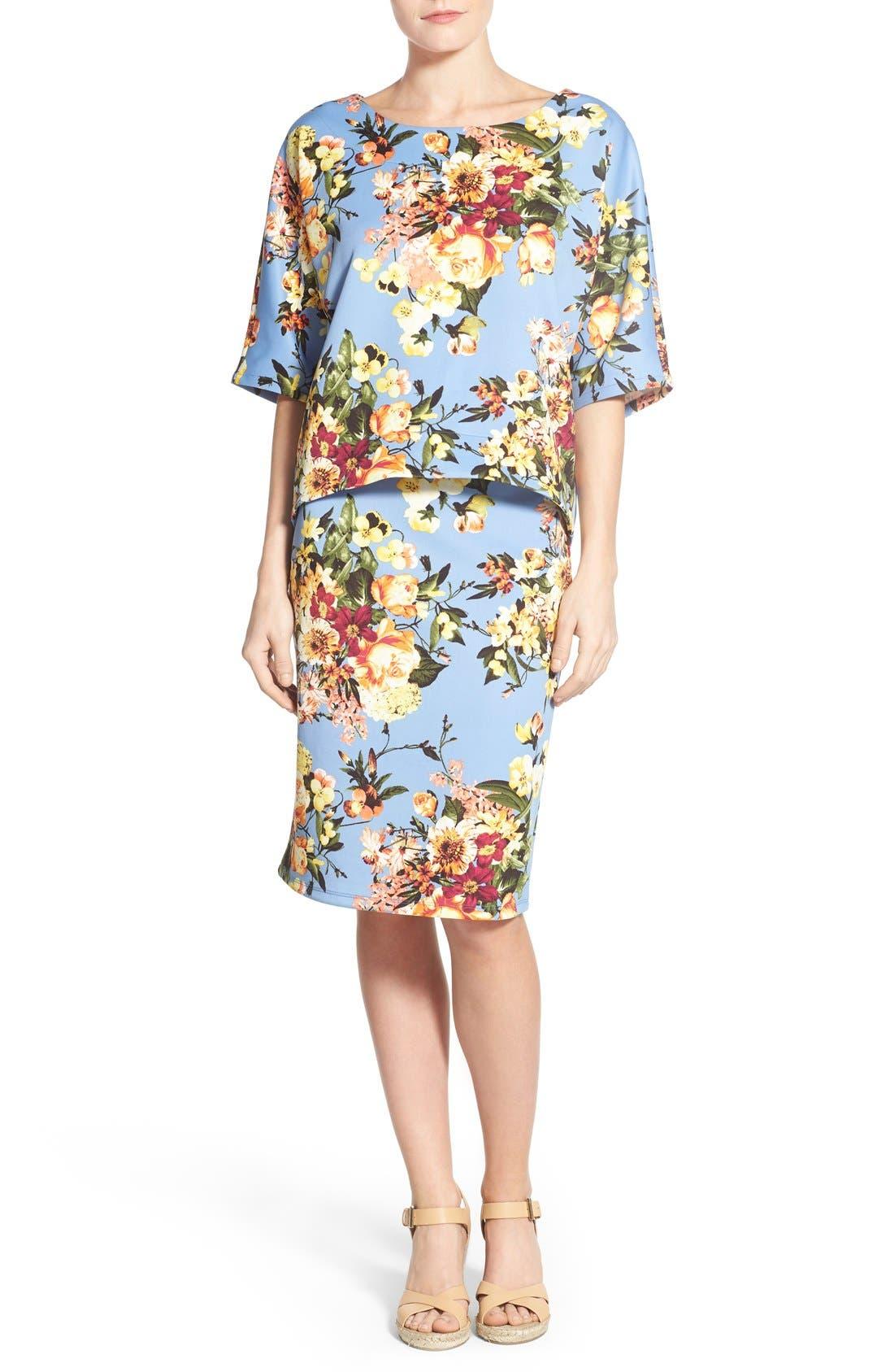 Alternate Image 6  - Bobeau Floral Print Pencil Skirt (Regular & Petite)