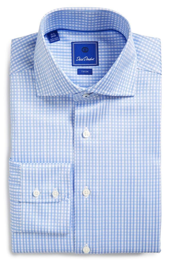 David Donahue Trim Fit Plaid Dress Shirt Nordstrom