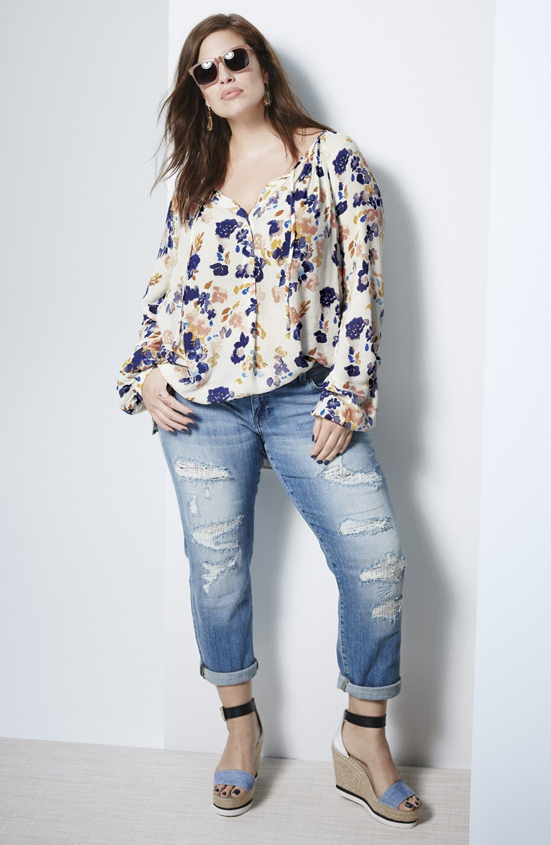 Alternate Image 2  - Lucky Brand 'Reese' Ripped Boyfriend Jeans (San Marcos) (Plus Size)