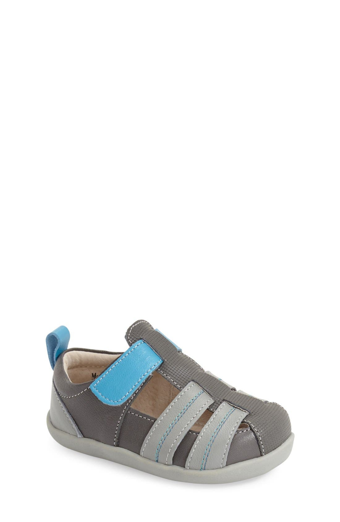 See Kai Run 'Caleb' Leather Fisherman Sandal (Baby & Walker)