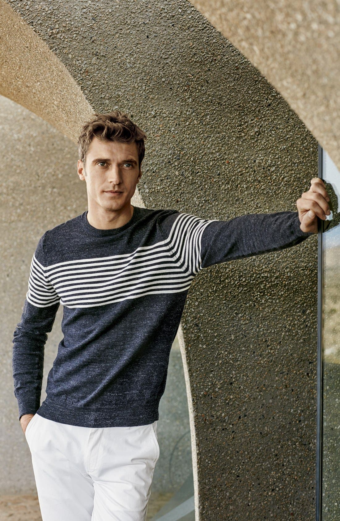 Alternate Image 6  - Grayers 'Shore Club' Chest Stripe Crewneck Sweater