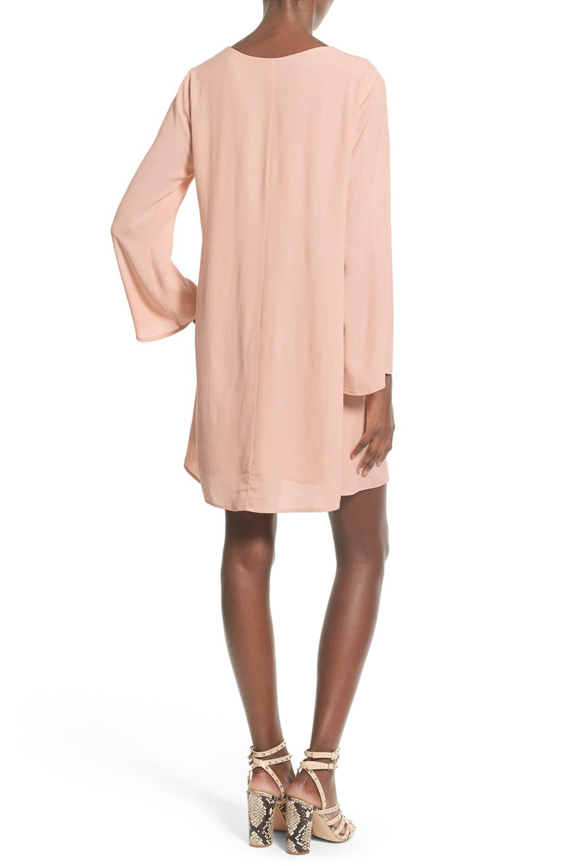 Alternate Image 2  - ASTR Lace-Up Bell Sleeve Shift Dress