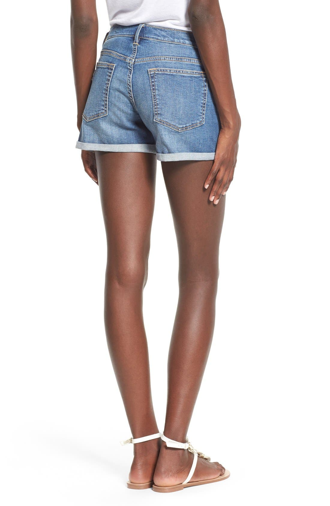 Alternate Image 2  - SP Black Rolled Denim Shorts