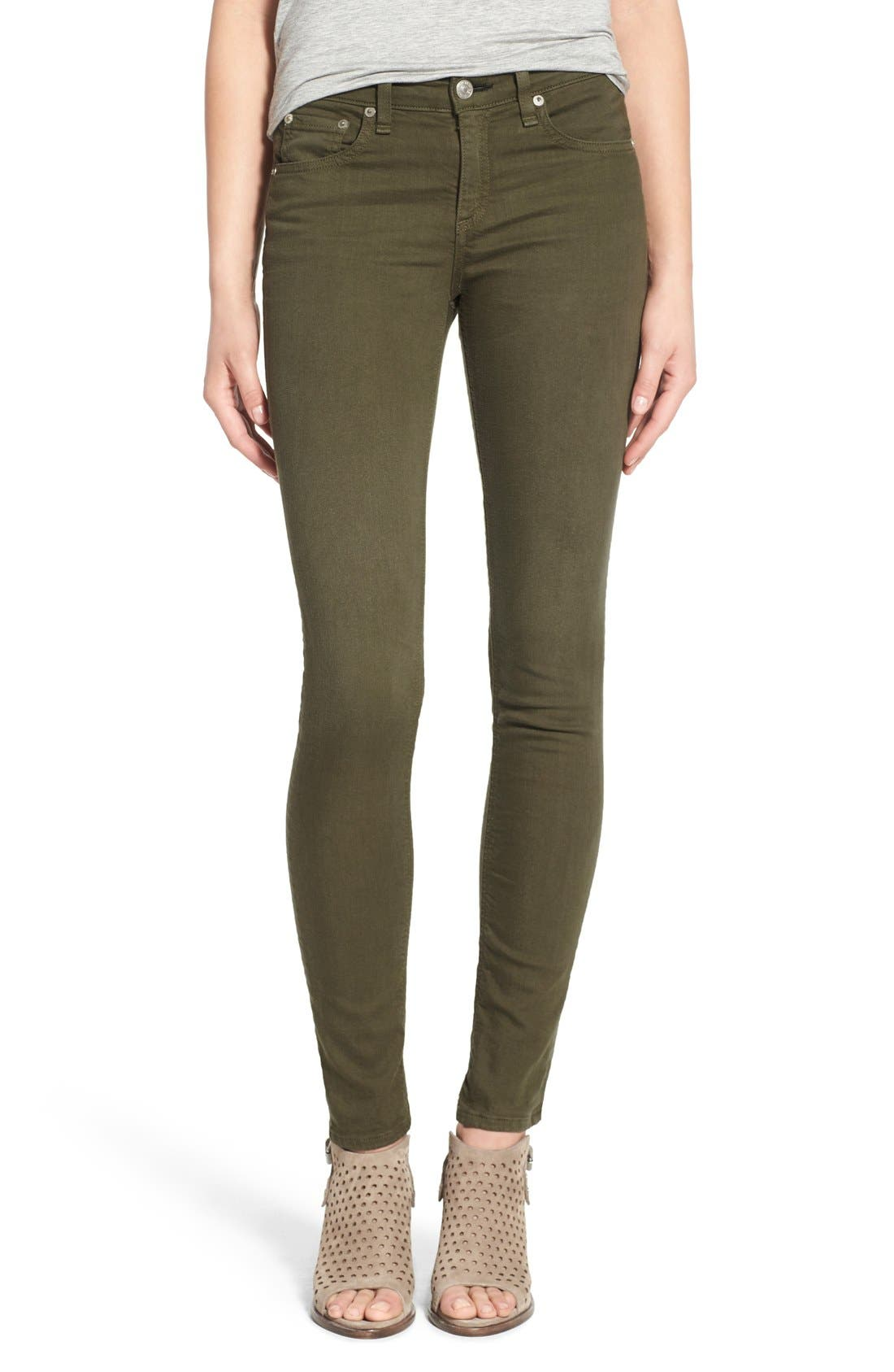 Alternate Image 1 Selected - rag & bone/JEAN Skinny Jeans (Distressed Army)