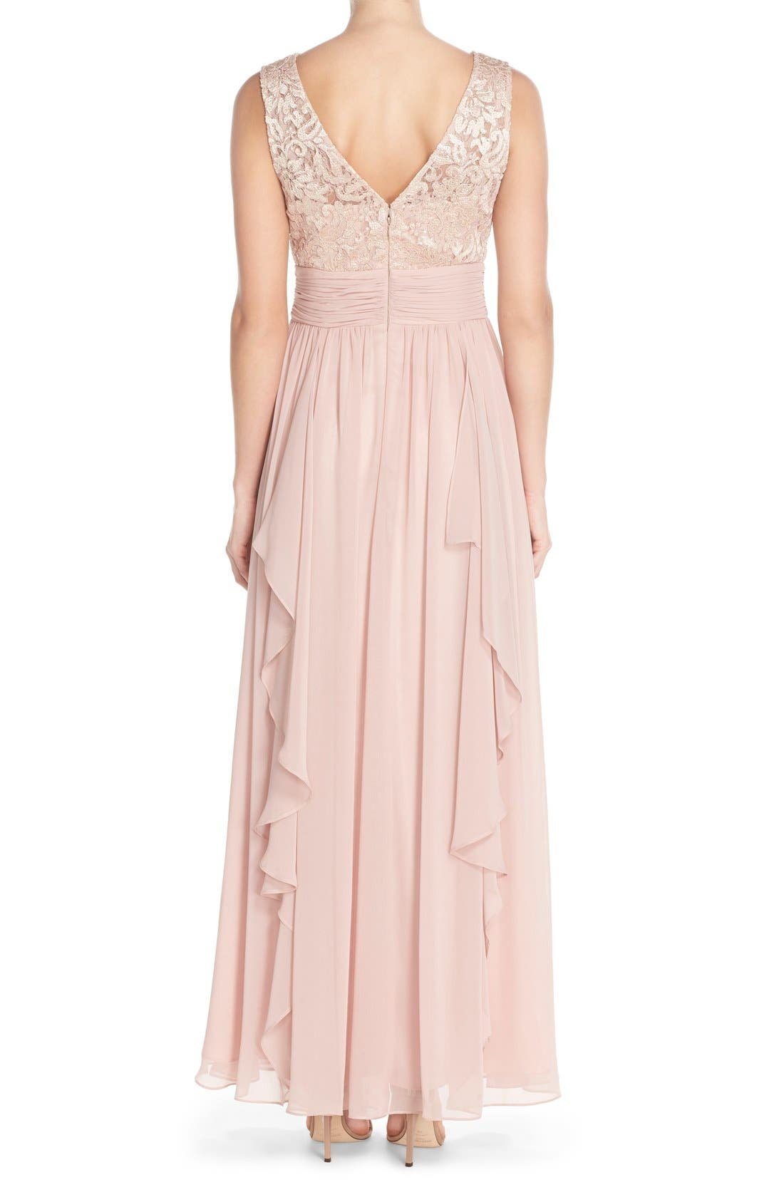 Alternate Image 2  - Eliza J Lace & Chiffon Gown (Regular & Petite)