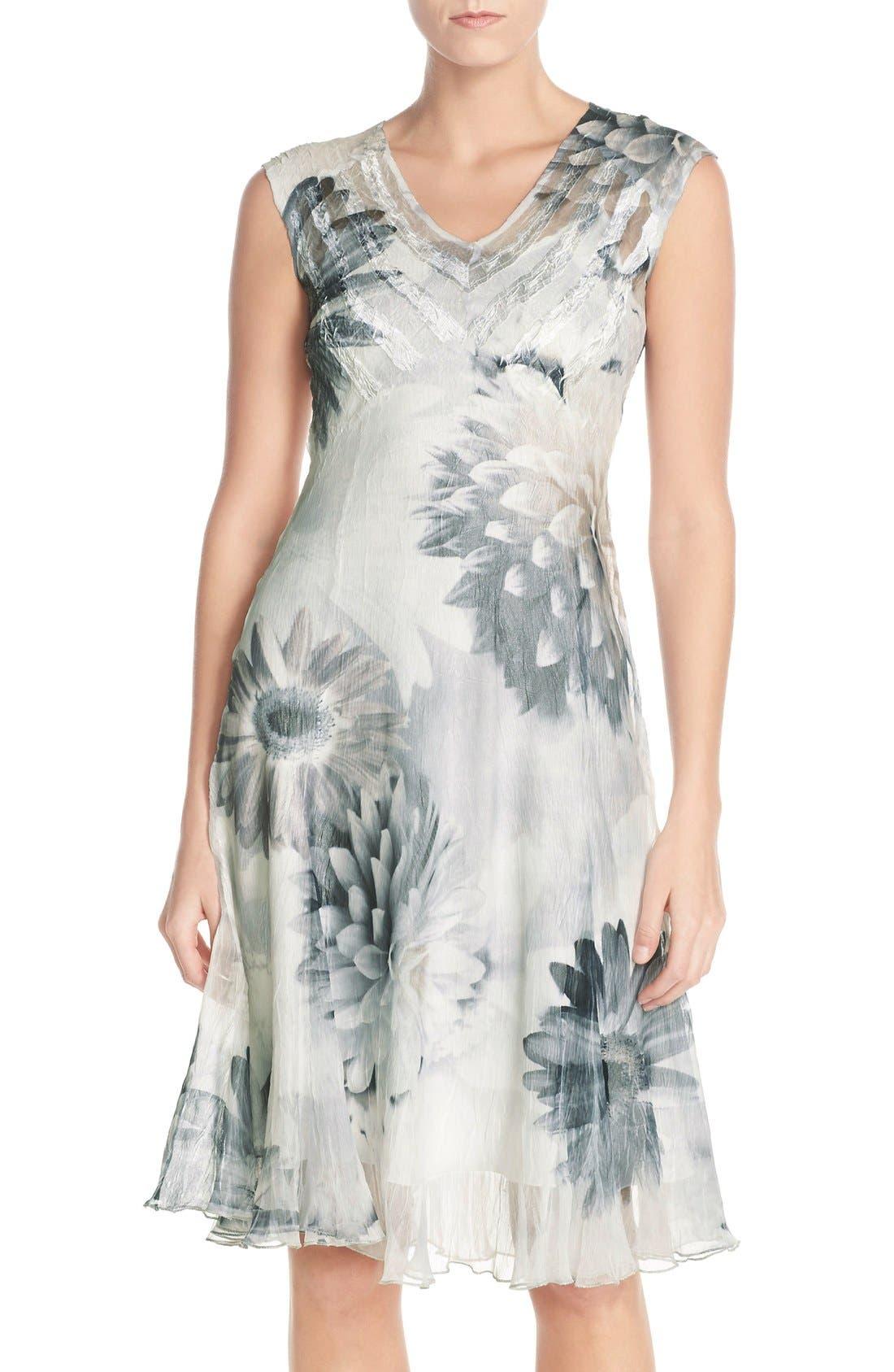Komarov Floral Print Chiffon A-Line Dress (Regular & Petite)
