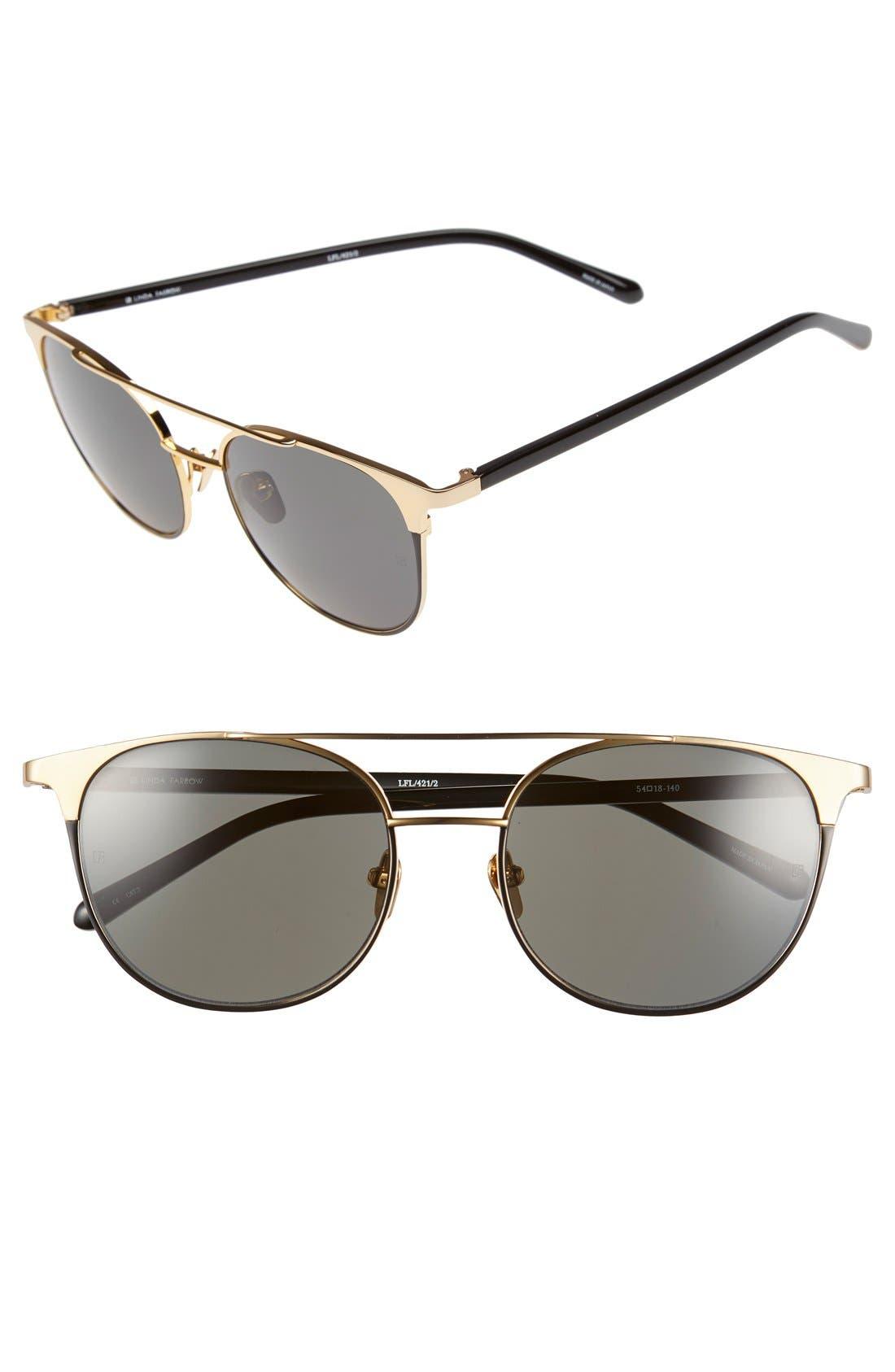 Linda Farrow 54mm 22 Karat Gold Trim Sunglasses