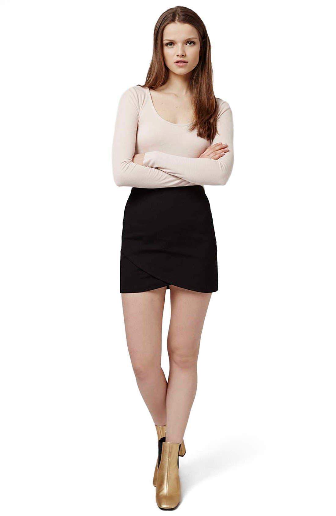 Alternate Image 2  - Topshop Curved Faux Wrap Miniskirt (Petite)
