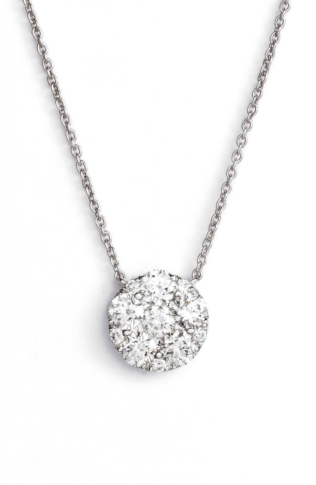 Main Image - Bony Levy 'Mika' Pavé Diamond Large Circle Pendant Necklace (Nordstrom Exclusive)