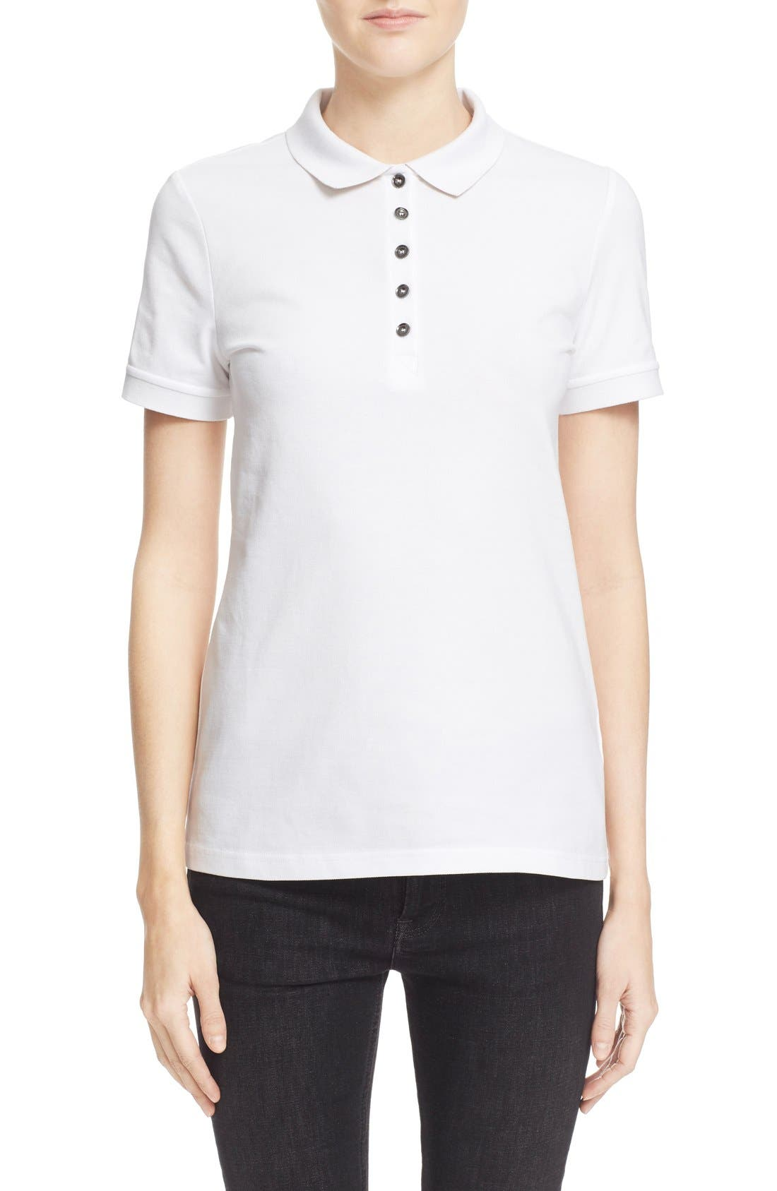 BURBERRY Check Trim Piqué Polo Shirt