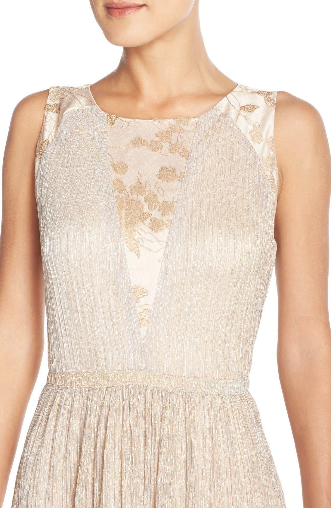 Alternate Image 4  - Tahari Pleated Metallic Jacquard Illusion Midi Dress