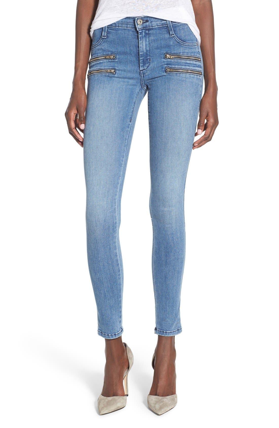 Main Image - James Jeans Double Front Zip Denim Leggings (Splash)
