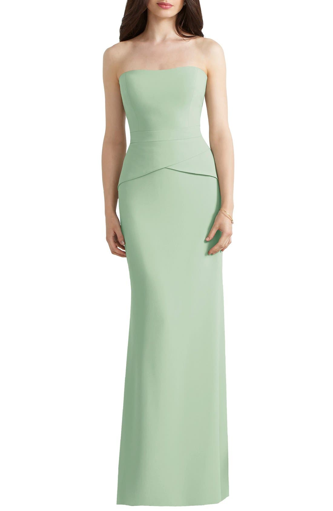 Main Image - Social Bridesmaids Strapless Peplum Detail Georgette Gown
