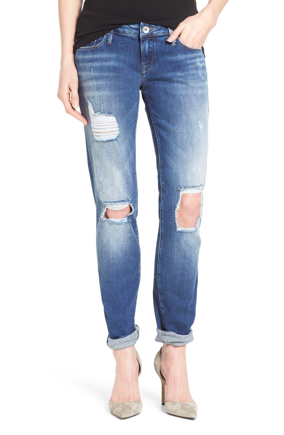 Alternate Image 1 Selected - Mavi Jeans 'Emma' Ripped Knee Boyfriend Slim Jeans (Vintage)
