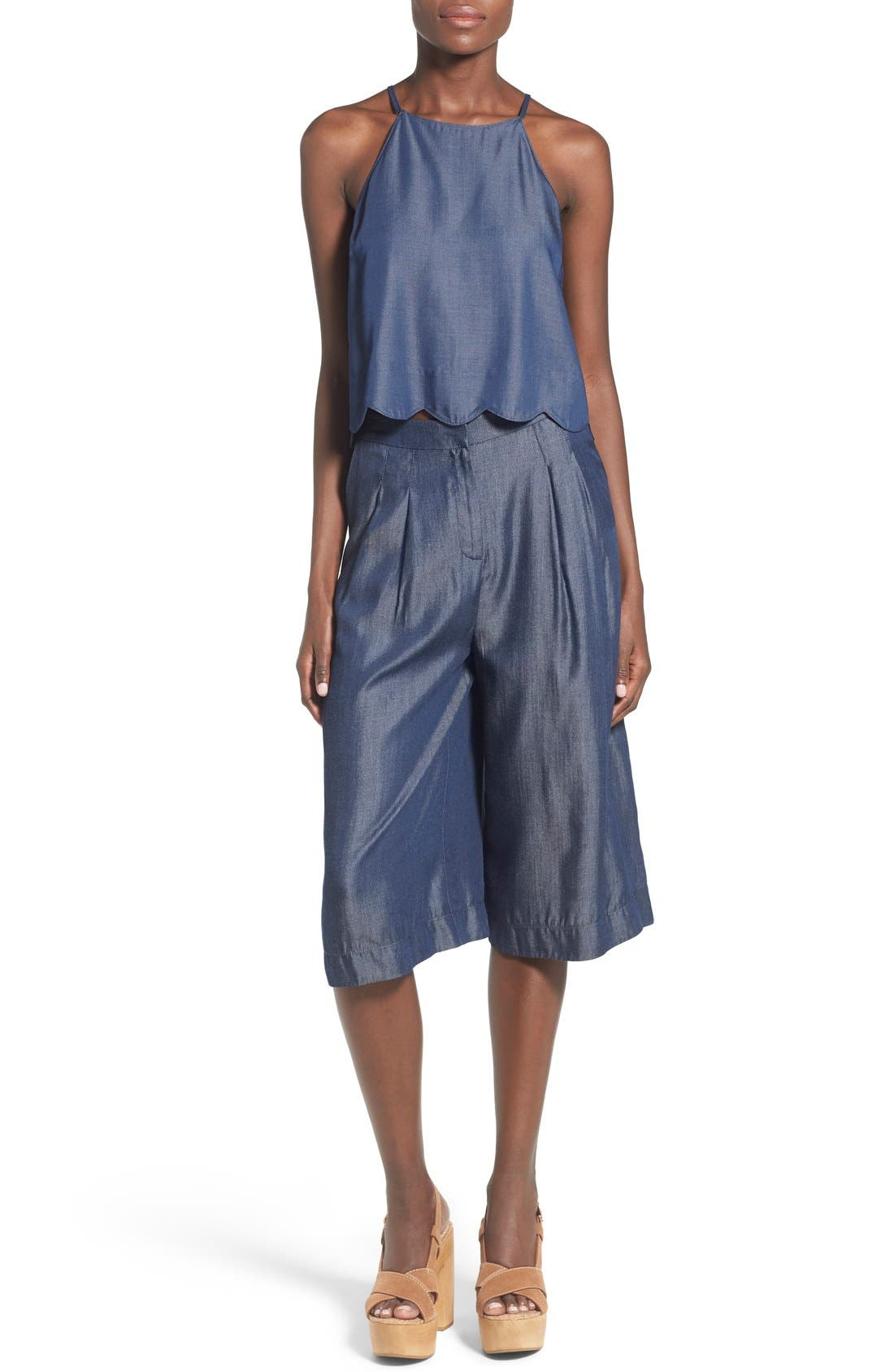Alternate Image 5  - ASTR 'Ashley' Chambray Culottes