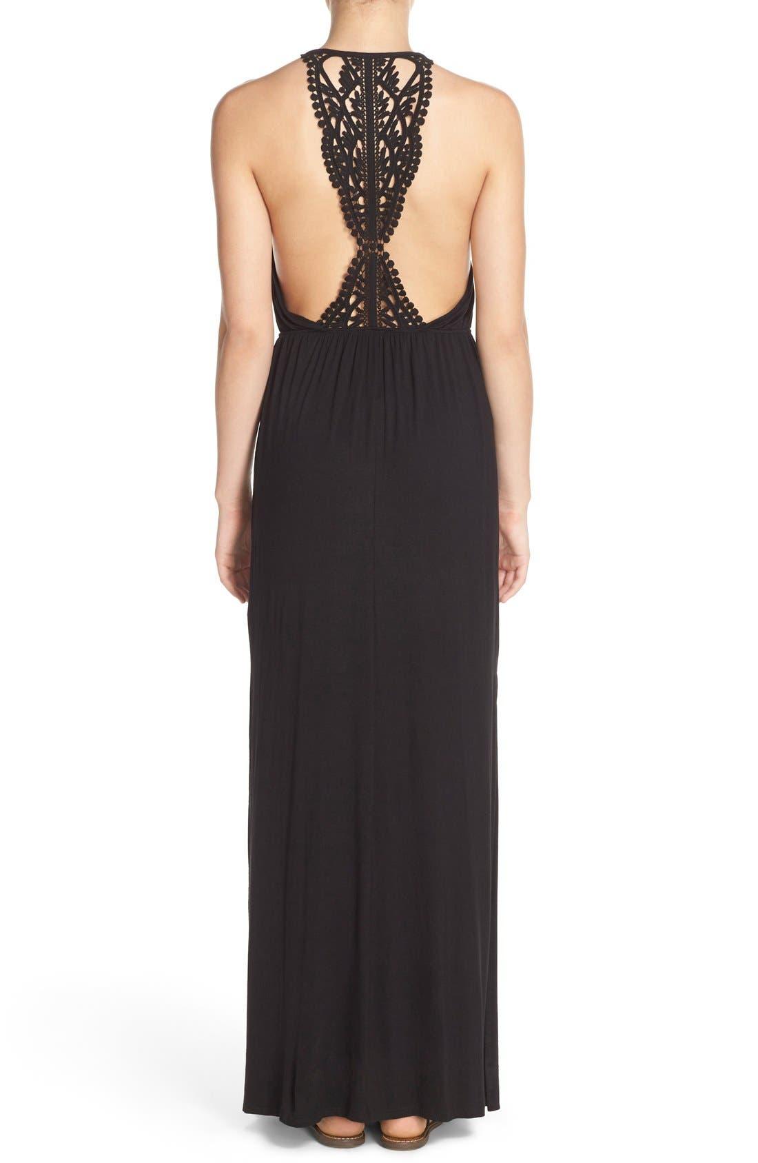 Main Image - Surf Gypsy Crochet Back Jersey Cover-Up Maxi Dress
