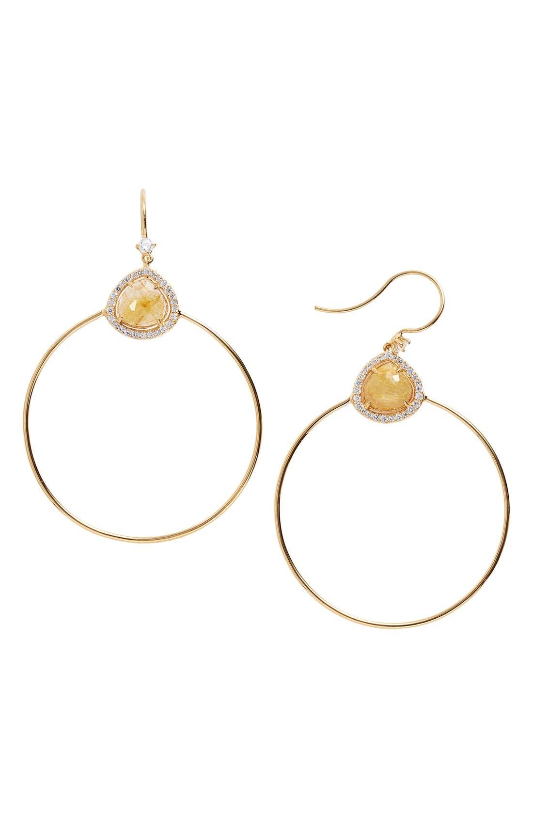 Main Image - Nadri 'Boho' Semiprecious Stone Frontal Hoop Earrings