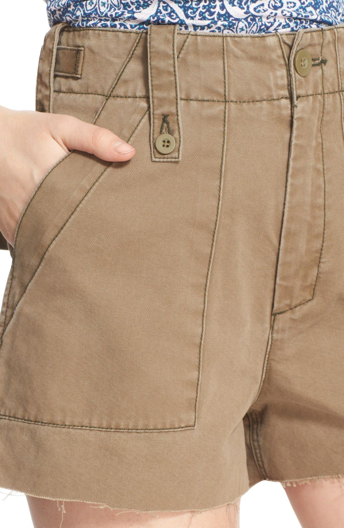 Alternate Image 4  - Free People 'Gunner' High Rise Twill Shorts