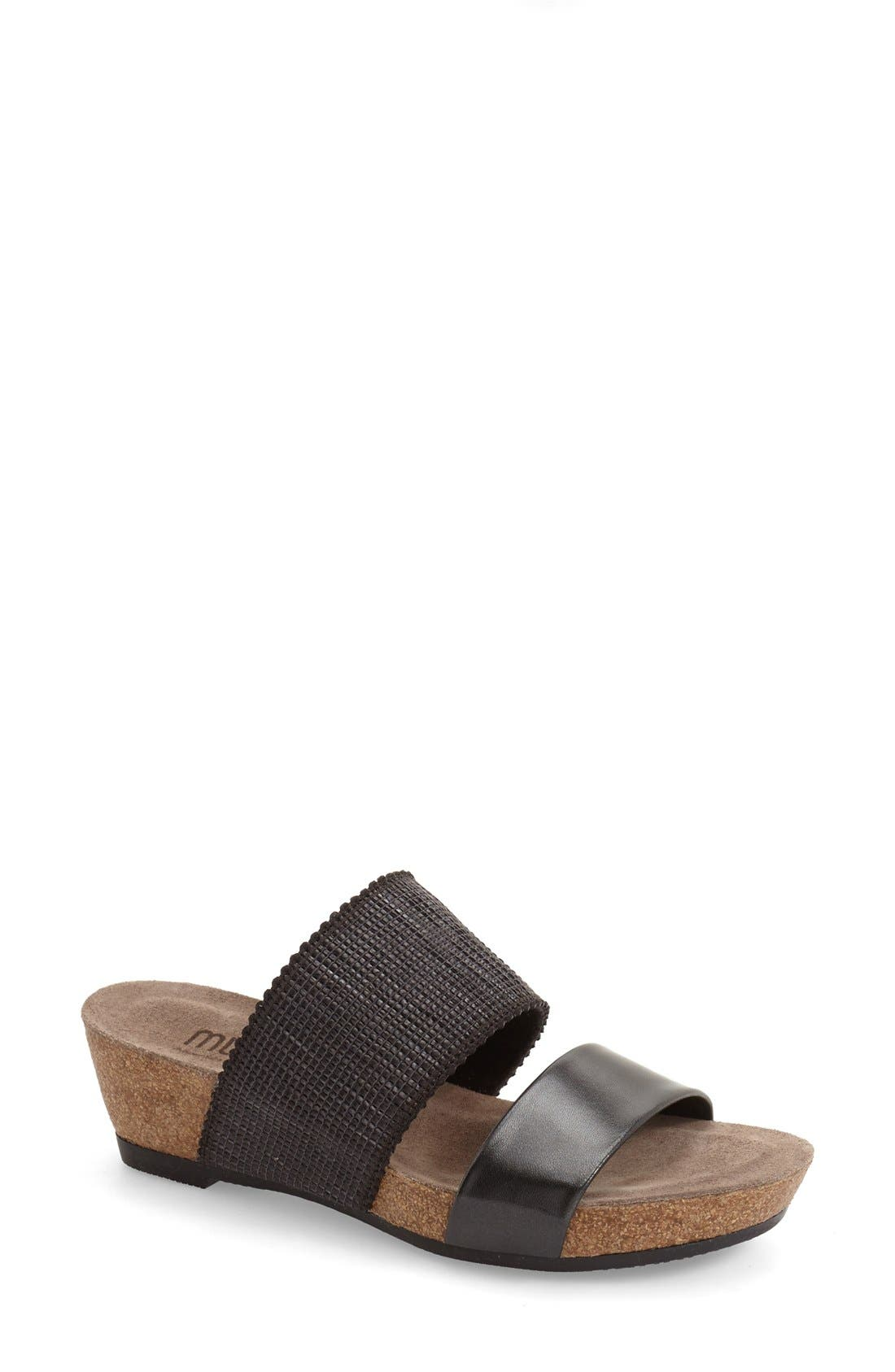 MUNRO 'Riviera' Two Strap Slide Wedge Sandal