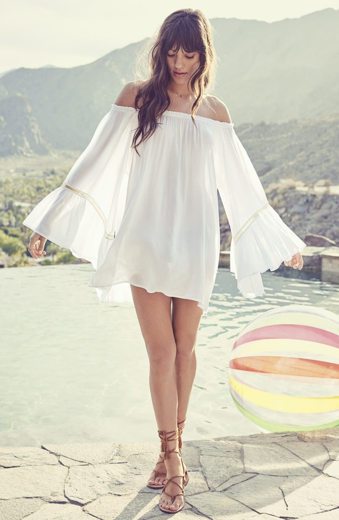 Alternate Image 6  - Elan Off the Shoulder Bell Sleeve Cover-Up Tunic