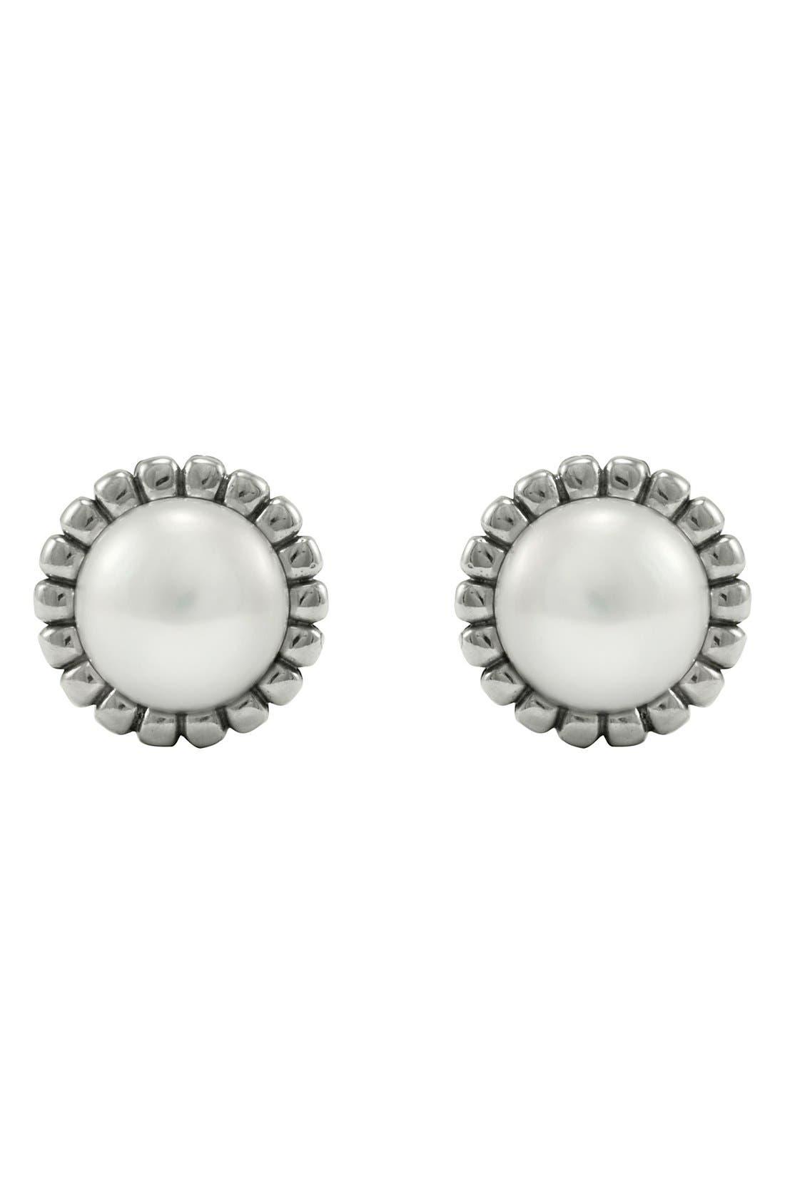 Alternate Image 2  - LAGOS 'Luna' Pearl Fluted Earrings