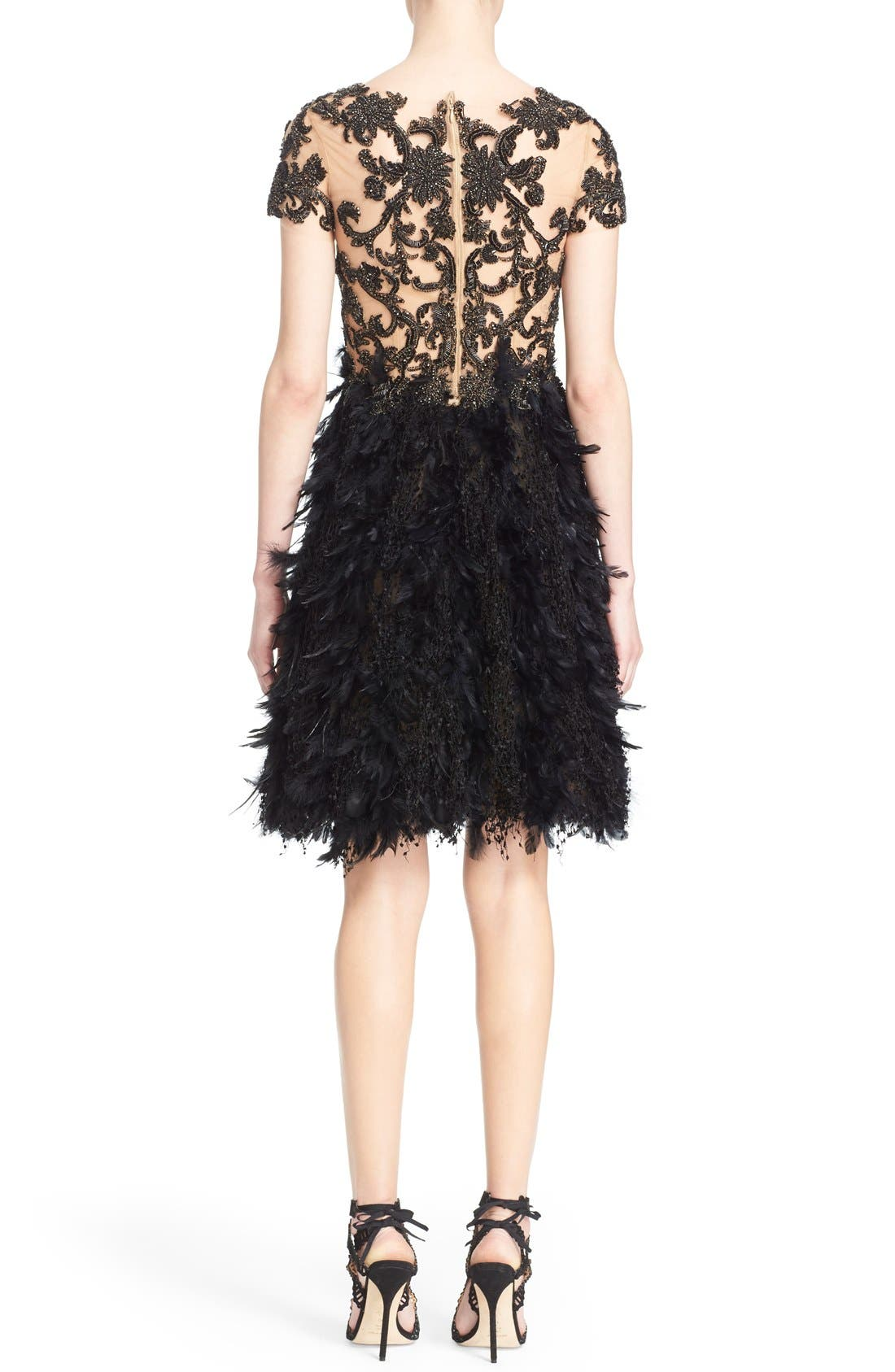 Alternate Image 2  - Marchesa Embroidered Illusion & Feather Cocktail Dress (Nordstrom Exclusive)