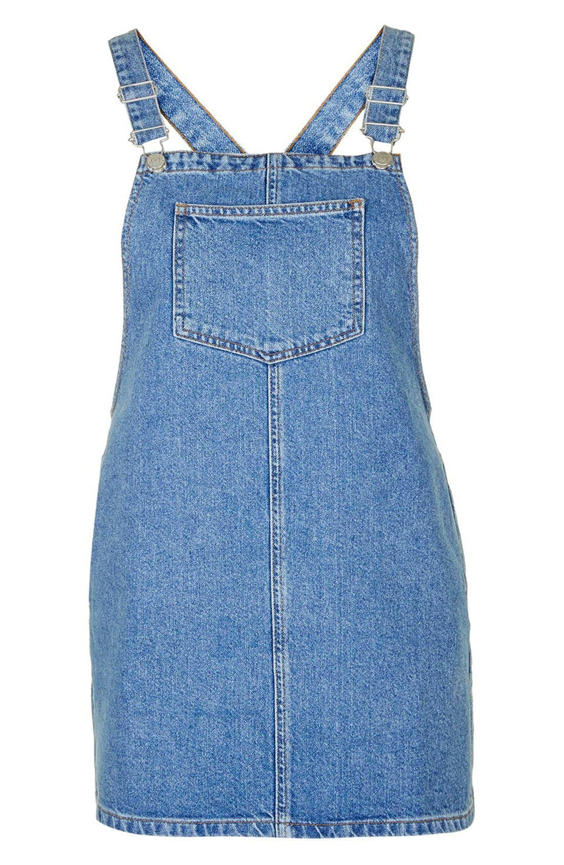 Alternate Image 4  - Topshop Denim Pinafore Dress (Petite)