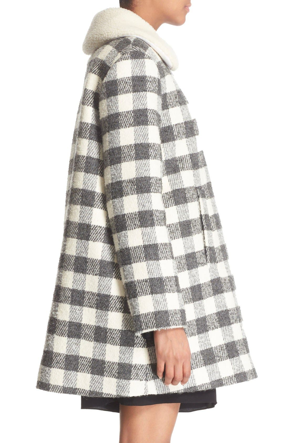 Alternate Image 4  - See by Chloé Faux Shearling Trim Buffalo Plaid Coat