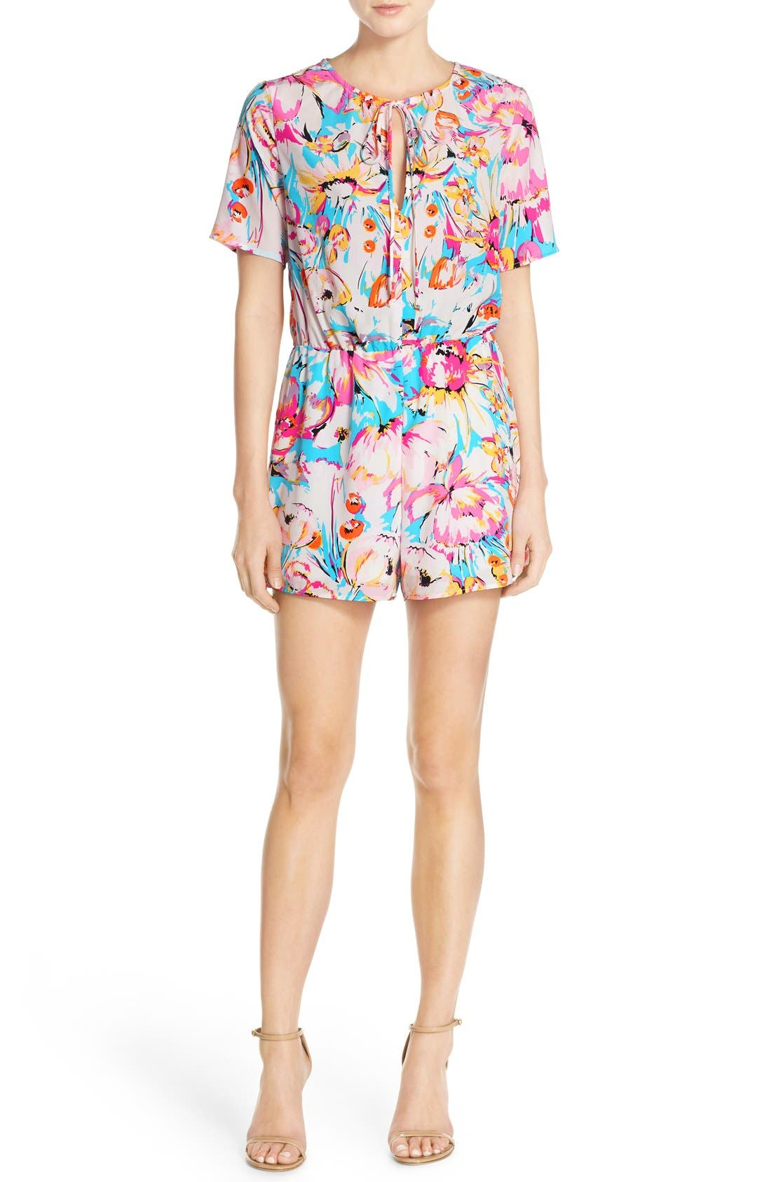 Alternate Image 1 Selected - Charles Henry Short Sleeve Floral Print Romper