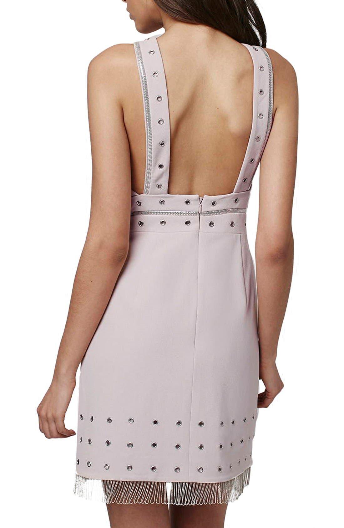 Alternate Image 2  - Topshop Metal Trimmed Fringe Body-Con Dress