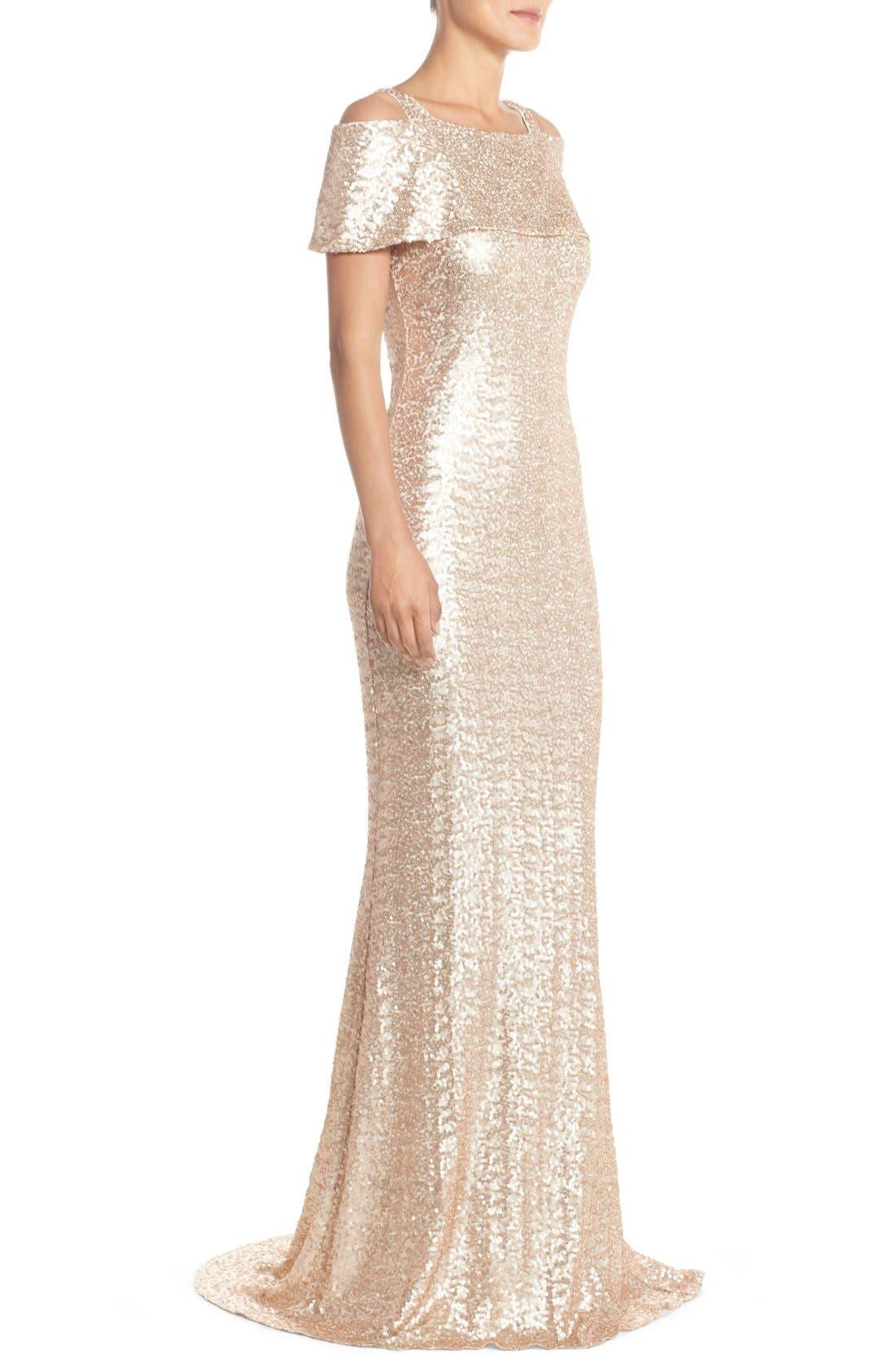 Alternate Image 3  - Badgley Mischka Cold Shoulder Sequin Body-Con Gown