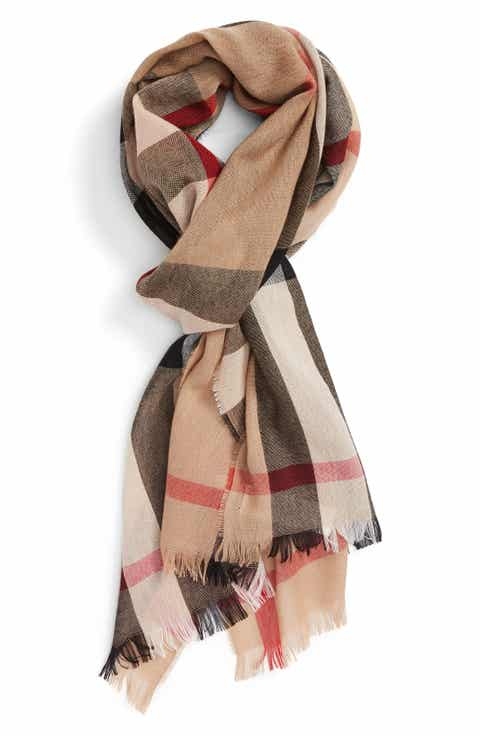 Burberry Check Wool   Cashmere Scarf