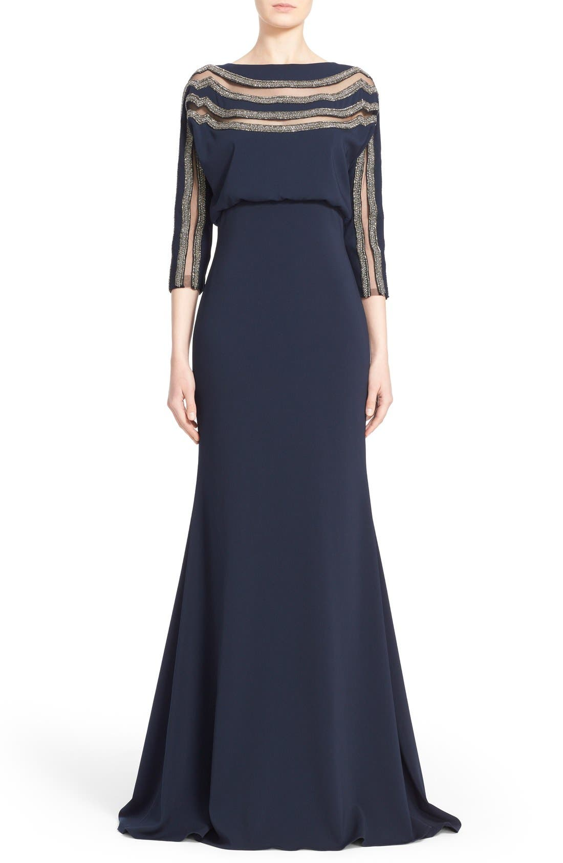 Alternate Image 1  - Badgley Mischka Couture Embellished Blouson Column Gown (Nordstrom Exclusive Color)