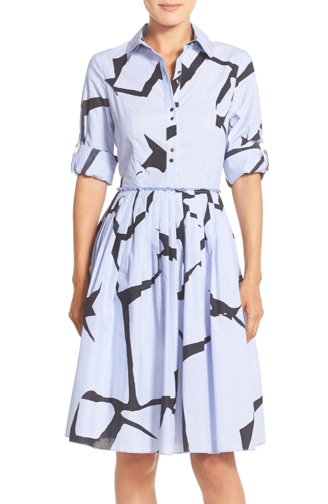 Alternate Image 1 Selected - Ivanka Trump Print Cotton Fit & Flare Shirtdress